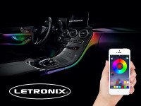 LED Ambientebeleuchtung App / Bluetooth gesteuert 4-Teilig LETRONIX RGB Farbwechsel
